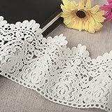Yulakes - Tira de encaje de algodón blanco, 2,74 m y 9 cm, de estilo vintage, para costura, artesanía, decoración, bodas, scrapbooking, paquetes de regalo