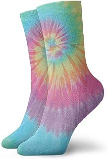 tyui7, Pastel Spiral Tie Dye Calcetines de compresión antideslizantes Cosy Athletic 30cm Crew Calcetines para hombres, mujeres, niños