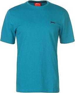 Slazenger Mens Plain T Shirt Crew Neck Tee Top Short Sleeve Lightweight Cotton Teal Blue Medium