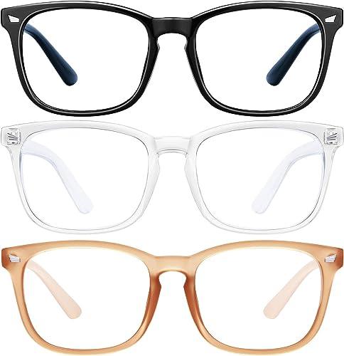 Blue Light Blocking Glasses - 3Pack Computer Game Glasses Square Eyeglasses Frame, Blue Light Blocker Glasses for Wom...