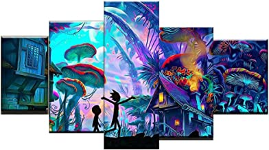 Bestmaple Modular Canvas Wall Art Pictures 5 Pieces Rick and Morty Paintings Living Room Printed Animation Posters Home Decor No Frame