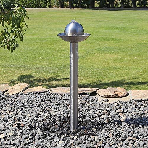 Springbrunnen aus Edelstahl für Garten ESB6 Fackel Brunnen Säulenbrunnen mit Säule Kugel LED Beleuchtung Set
