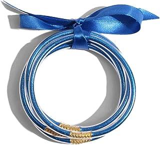BRIGHT MOON Jelly Bangle Bracelets Set for Women Lightweight Multilayer Silicone Bracelets Fashion Jewelry All Weather Glitter Jelly Bracelets Tube Bangle Bracelets