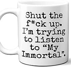 My Immortal Song Gift Tazza da caffè.Parody Lover Fan 'Sta zitto io' Sto provando ad ascoltare 'Poster,Memorabilia,Compleanno,Natale,Festa del papà,Festa della mamma,11 oz