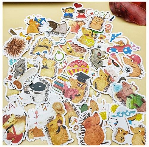 DZCYAN 40 Stück kreative hausgemachte süße lustige Igel Tier Clip Art Aufkleber dekorative Aufkleber DIY Handwerk Album