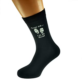 Trust me I'm an Actor and Theatre Mask Image Printed on Black Mens Cotton Rich Socks
