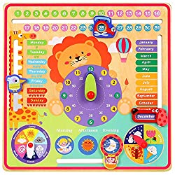 Tacobear 7 in 1 Kids Calendar Learning Clock My First Calendar Wooden Toys Educational Clock Montessori Toys for Toddlers Kids Boys Girls Christmas Birthday Gifts