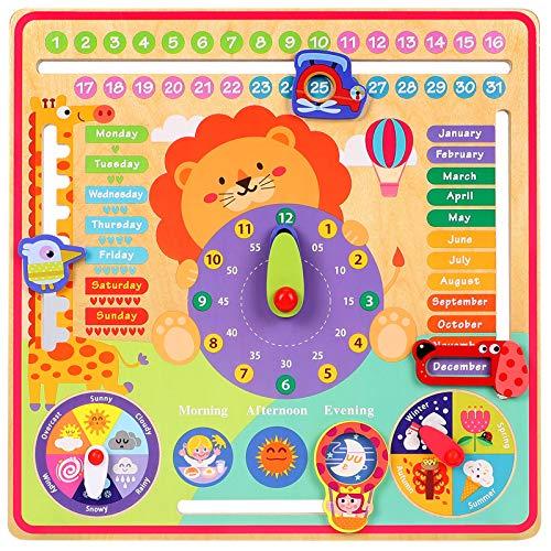 Toyssa 7 in 1 Calendario Didattico in Legno Orologio con Calendario Bambini Orologio in Legno Calendario Multifunzione Giocattolo Educativo in Legno Regalo di Compleanno Natale per Ragazzi Ragazze