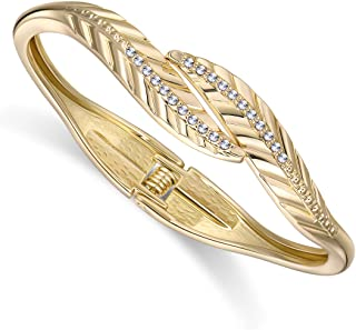 HANTON Exquisite Double Leaves Fashion Bangle Bracelet for Women Gold or Silver Tone Inlaid CZ Diamonds Statement Bangle J...