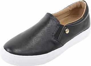 Women's Black Logo Print Slip-On Fashion Sneakers Shoes