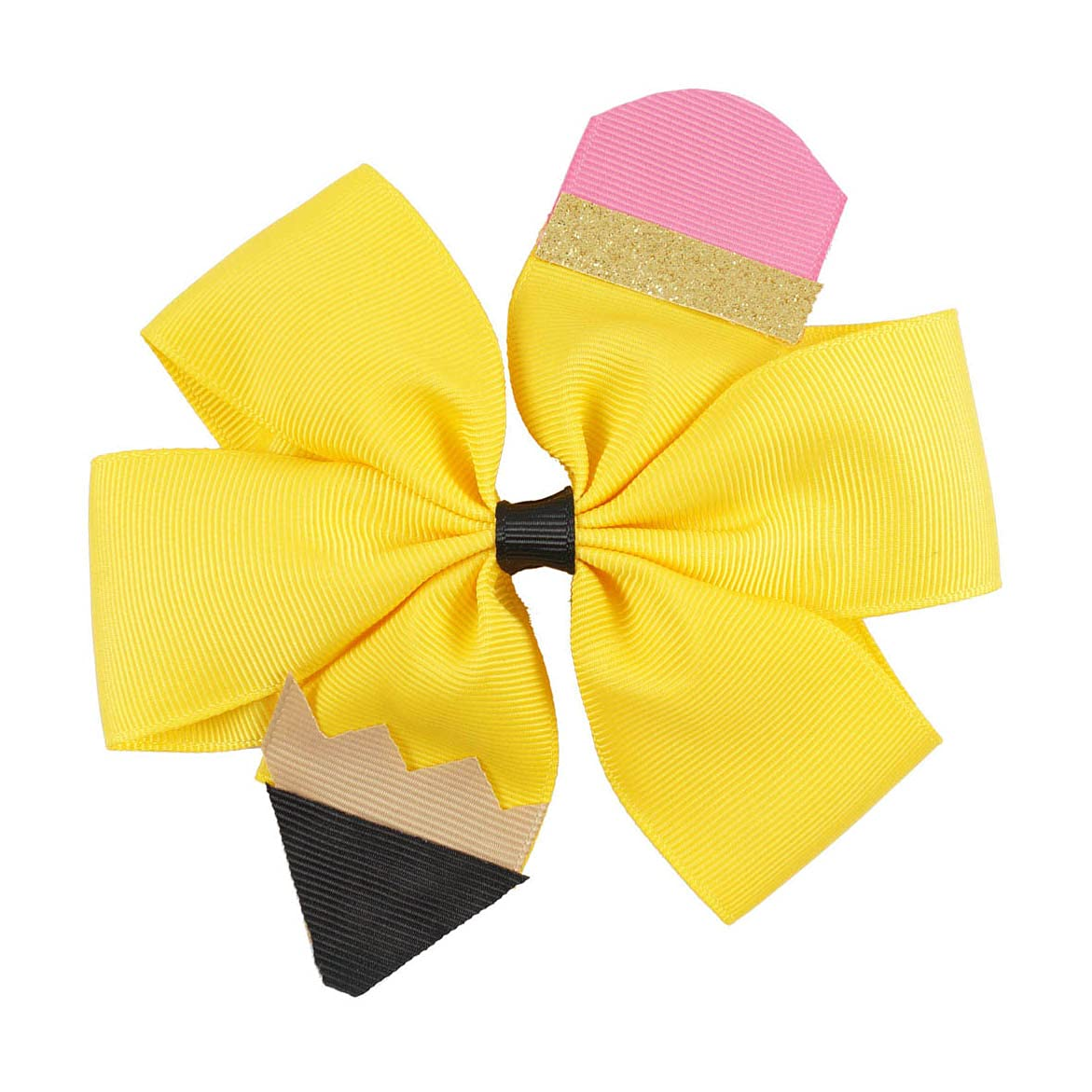 Pencil Girls Hair Bow Ponytail Holder Jumbo Hair Clips For Cheerleader Girls JBC13 (Hair Clip-Yellow-1)