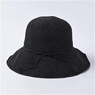 SHENTIANWEI Summer Straw hat Female Korean Casual Wild Foldable Hook Sun hat Solid Color Dome Beach Sunshade Cap (Color : Black)