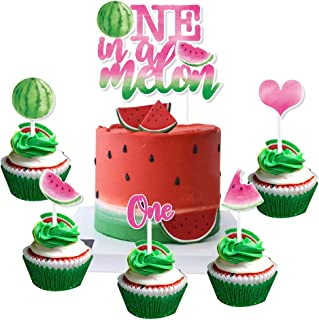 WERNNSAI Watermelon Cake and Cupcake Toppers - Pack of 31PCS One In A Melon Cake Topper for Girls 1st Birthday Summer Trop...