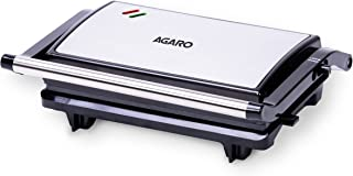 AGARO Deluxe 750 Watts Sandwich/Panini Maker With Non-Stick Grill Plates, 180° Flat Openable Plates
