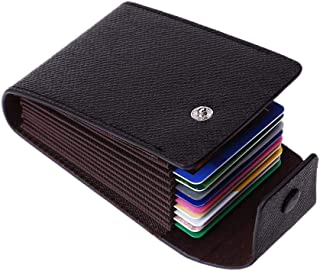Dyzeryk Wallet for Women Men Black leather Card Case Holder Wallet Ultra-Thin Minimalist (black)
