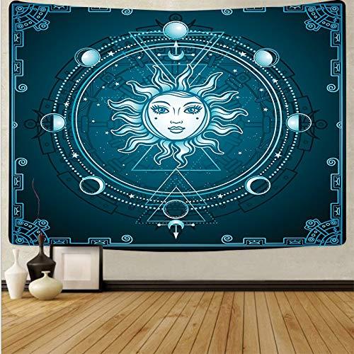 Sol Luna Psicodélico Colgante de pared Tapiz en blanco y negro Arte de la pared Paño Decoración del hogar Fondo de tela Tapiz A17 73x95cm