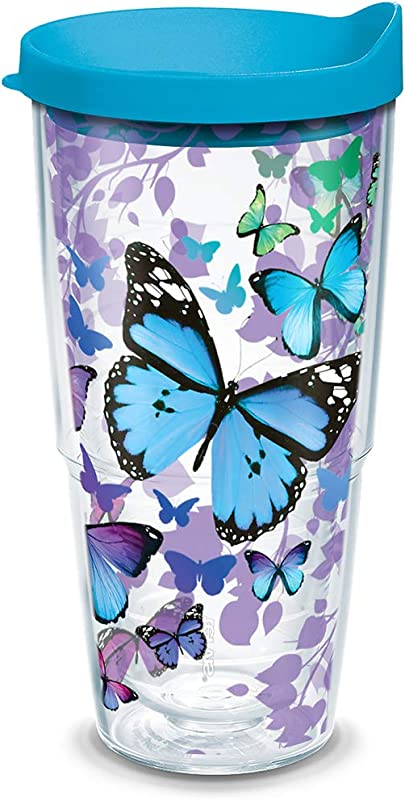 Tervis 1312394 Blue Endless Butterfly Insulated Tumbler With Wrap And Turquoise Lid 24oz Clear