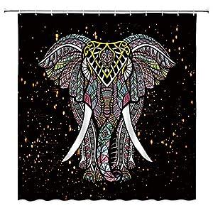 Elephant Shower Curtain Bohemian Elephant Mandala Boho Batik Indian Animal Hippie Ethnic Vintage Abstract Colorful African Fabric Bathroom Curtain Set 70x70 Inch with Hooks
