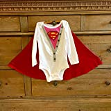 Handmade Baby Girl Super Hero Superwoman Supergirl superbaby Onesie Bodysuit with Cape