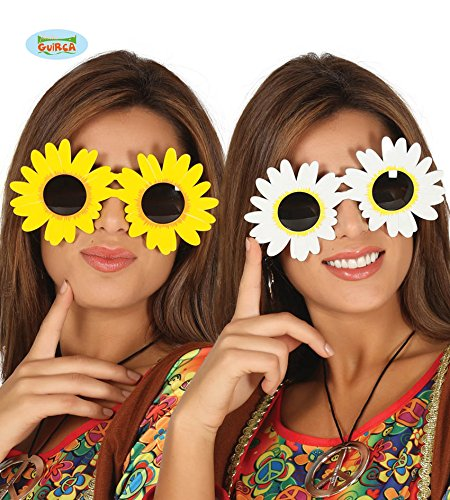 Guirca Coole Sonnenblumen Brille Flower Power Hippie Blumenbrille Karneval Fasching Party