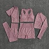Beiziml Set da 5 Pezzi Allenamento Senza Cuciture da Donna Yoga Set da Fitness Manica Corta Manica Lunga Top Camicie da Corsa Corte