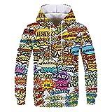 Jersey de la letra de los hombres suéter de graffiti sudadera con capucha moda casual manga larga letras 3d digital graffiti impresión suétershirt