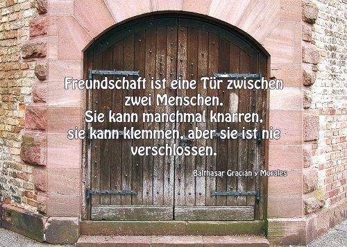 2 Postkarten Tür Tor - Spruch: Freundschaft ist eine Tür zwischen zwei Menschen. Sie kann manchmal knarren, sie kann klemmen, aber sie ist nie verschlossen