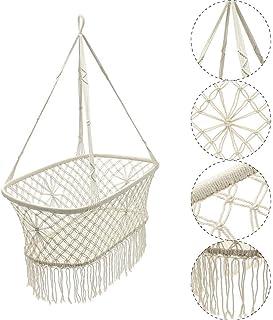 Hammock Chair White Baby Nursery Bassinet Cradle Hanging Rope Macrame Hammock Chair Swing for Patio Yard Garden(Beige,42x7...