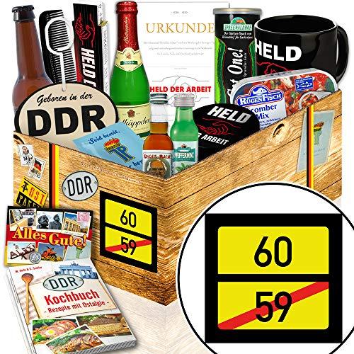 Ortsschild 60 / Zum 60. Geburtstag Geschenk / DDR Männer Geschenkbox DDR