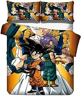 KIACIYA Dragon Ball Juego de Cama para Niño, Dragon Ball Juego de Funda de edredón y Funda de Almohada 3D Anime Impresión Niños Dragon Ball Uego de Ropa para Cama (06,135x200cm)