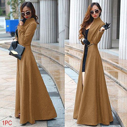 EMVANV Mujeres Moda Primavera Otoño Invierno Delgado Extra Lana Abrigo Casual, Camel Color, xxx-large