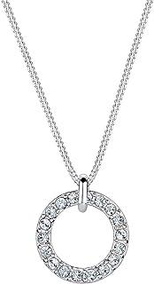 Elli Ladies 925Silver Karma Crystals Diamond Cut Circle Pendant Necklace of Length 45cm0110762414_45