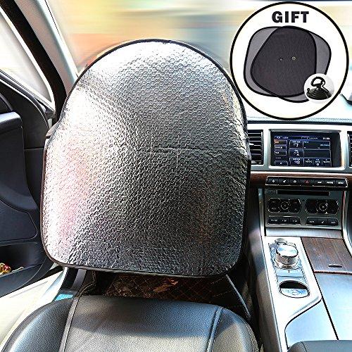 iZoeL Auto Lenkradhülle Hitzeschutz Alu Sonne Schatten 50cm*46cm passend für meisten Autos+ 2 Stücke Seitenscheibe Sonnenschutz Sonnenblende mit UV-Schutz 44*36cm (UPDATE)