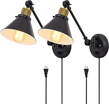 TRLIFE Plug in Wall Sconces Set of 2, Dimmable Swing Arm Wall Lights Plug in Wall Sconce with On/Off Switch, Wall Mounted Wal