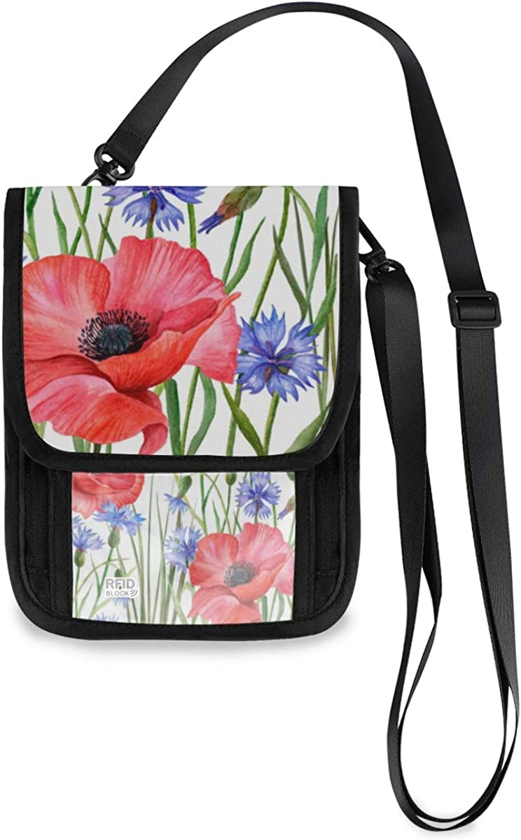 VIKKO Minneapolis Mall Chic Poppy sale Flowers Leaves Travel RFID Neck With Wallet Bl
