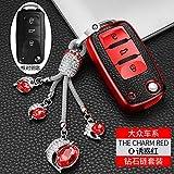 QND,Cubierta de la Llave del Coche,Car Key Cover Remote Fob Holder Cover Shell For VW Volkswagen Jetta Golf 4 5 6 Polo Bora Passat B5 B6 Bag,Red Set 02