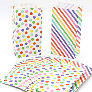 UNIQOOO 72Pcs Rainbow Treat Bags Bulk, Polka Dots and Strips,Small 7x3½ x2 Inch,Food Safe Paper,Pastry Cookie Candy Goodie Bags for Christmas Holiday Party Favor Supply,Candy Buffet Table Decoration