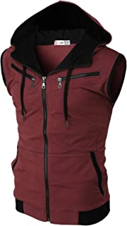 H2H Mens Casual Slim Fit Sleeveless Lightweight Zip-up Hooded Vest with Zipper Trim