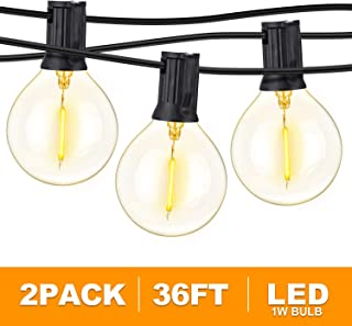 2-Pack 36FT LED G40 String Lights with 50+4 Dimmable Clear Globe Vintage Edison Bulbs, Waterproof Outdoor Indoor Cafe Lights for Patio Garden Backyard Bistro Pergola Tents Gazebo Decor,Black Wire, 72F