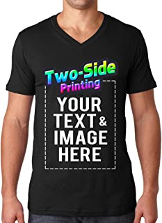 Custom Men's V Neck T Shirts Design Your Own Add Text or Picture Printed Personalized Tee