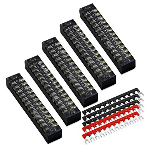 10pcs (5 Sets) 12 Positions Dual Row 600V 15A Screw Terminal Strip Blocks with Cover + 400V 15A 12 Positions Pre-Insulated Terminals Barrier Strip (Black & Red) by MILAPEAK
