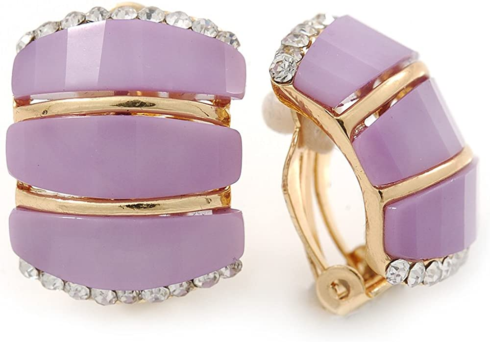 C Shape Lavender Acrylic, Clear Crystal Clip On Earrings In Gold Plating - 20mm L