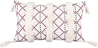 Merrycolor Boho Decorative Throw Pillow Covers 18x18, Cotton Pillow Covers with Tassels, Woven Tufted Farmhouse Pillow Cov...