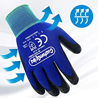 CustomGrips Cut Resistant Work Gloves. Slim Span-Nylon Liner, Level 3 Abrasion Resistance, Nitrile Foam Palm Coated. Superior Breathability & Grip for All Day Comfortable Wear. (Medium, 6 Pairs)