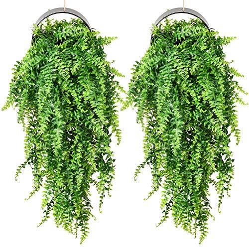 YQing 2 Stück Künstliche Hängepflanze, Knstpflanze Hängend Persisches Rattan Farn Pflanze Weinreben Farne für Wand, Innenbereich, Hängekörbe, Hochzeitsgirlande