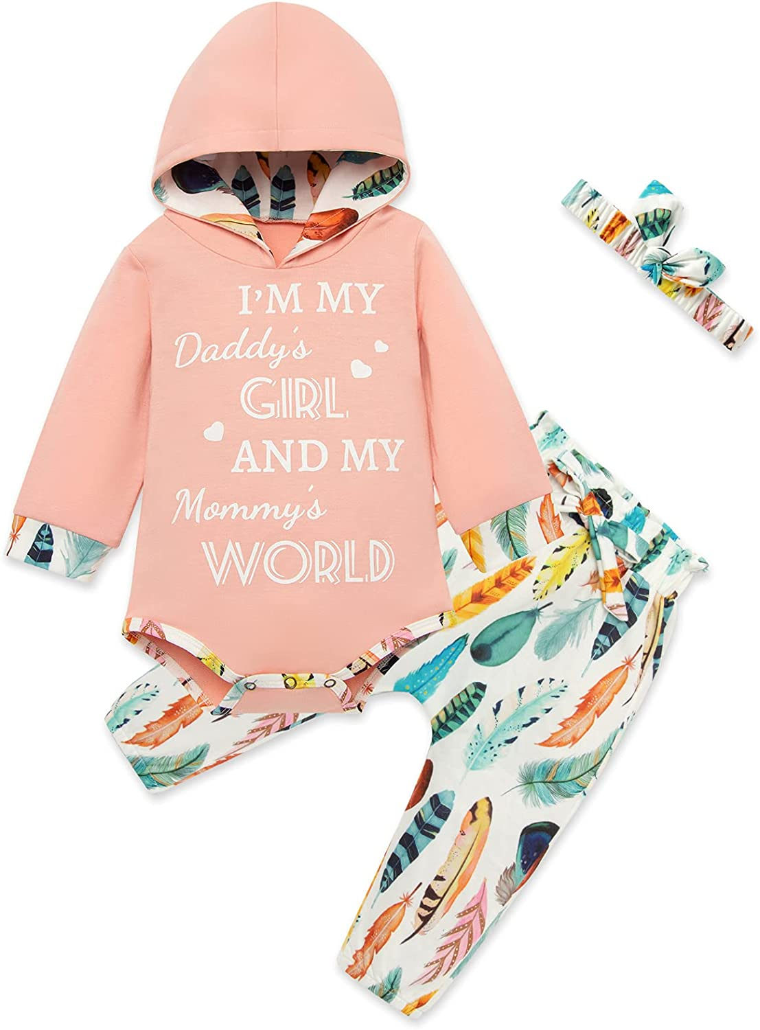 Newborn Baby Girl Clothes Infant Toddler Baby Floral Ruffle Romper + Pants + Headband 3PCS Baby Girl Outfits Set 0-12 Months