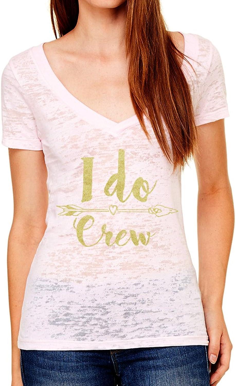 Emden Apparel I Do Crew Bridal Womens V Neck T Shirt Burnout