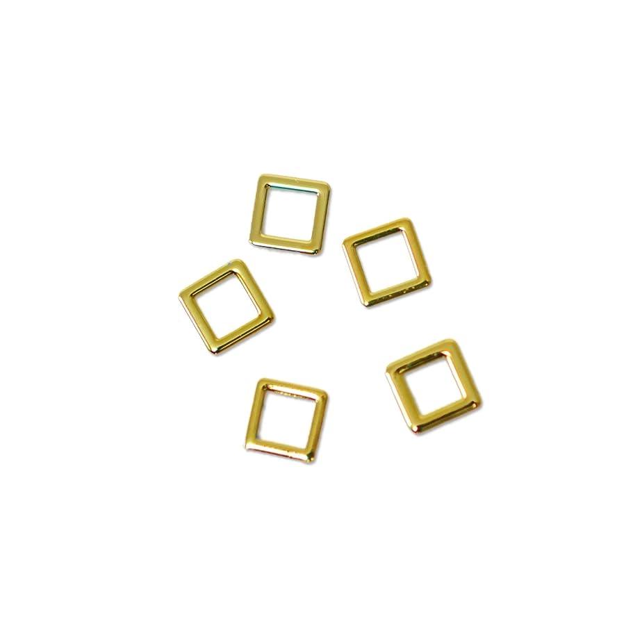 眠いです敬意を表する好む薄型メタルパーツ10001 スクエア 約3mm(内寸約2mm) ゴールド 20個入り 片面仕上