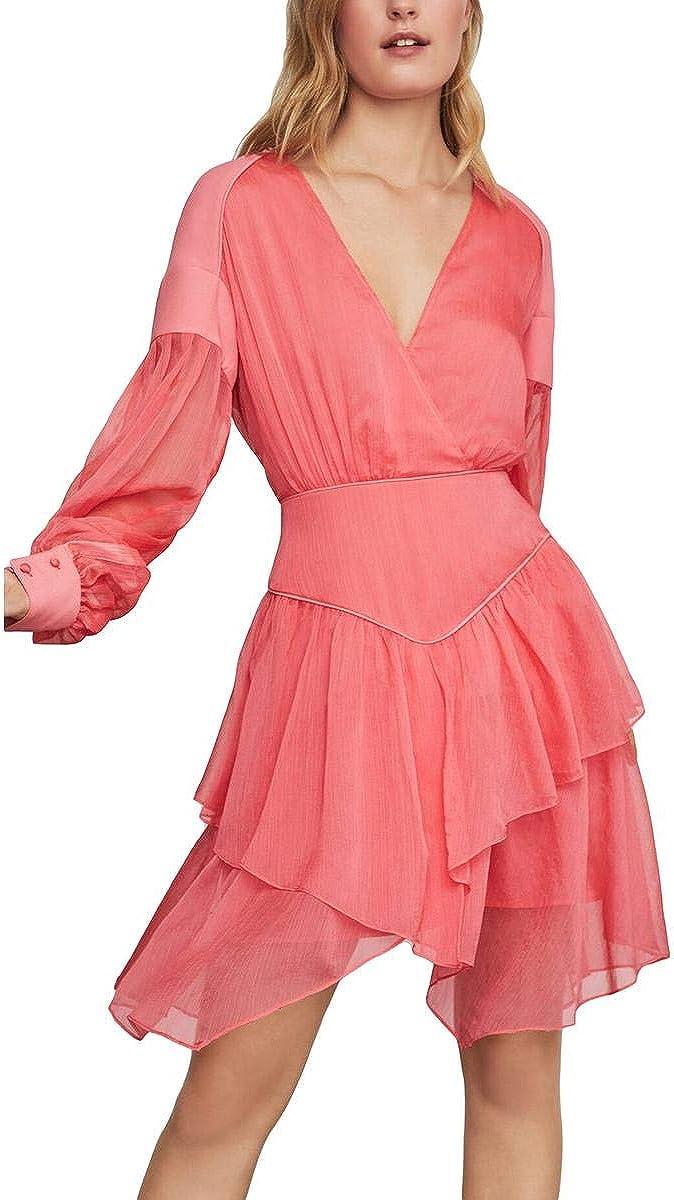BCBGMAXAZRIA Womens Faux Wrap Chiffon Cocktail Dress