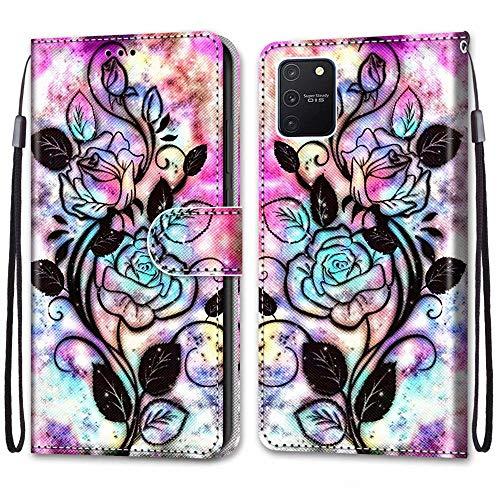 Nadoli Bunt Leder Hülle für Samsung Galaxy S10 Lite,Cool Lustig Tier Blumen Schmetterling Entwurf Magnetverschluss Lanyard Flip Cover Brieftasche Schutzhülle mit Kartenfächern